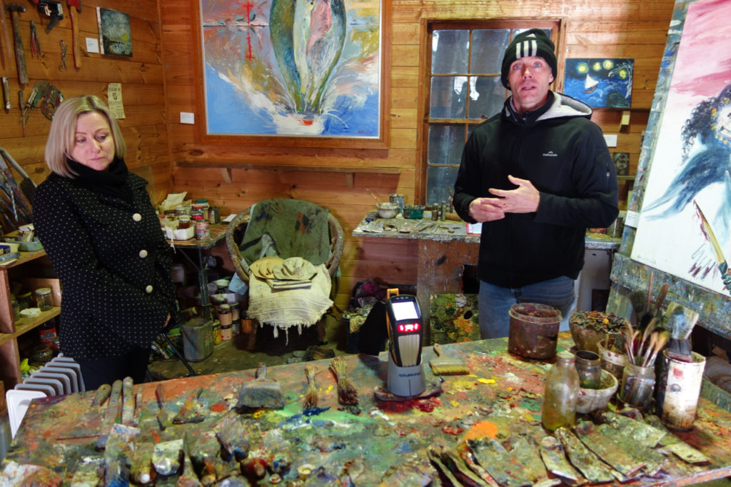 Professor Mark Taylor and Bundanon Trust curator Jennifer Thompson in Arthur Boyd's studio, Bundanon