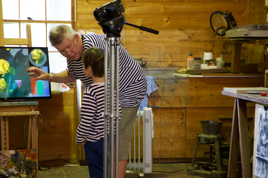 Nigel Helyer demonstrating 'Heavy Metal', installed in Arthur Boyd's studio, Bundanon, 2016