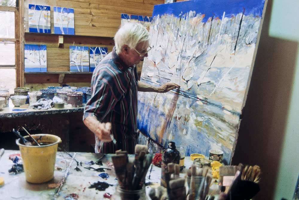Arthur Boyd painting in his studio at Bundanon